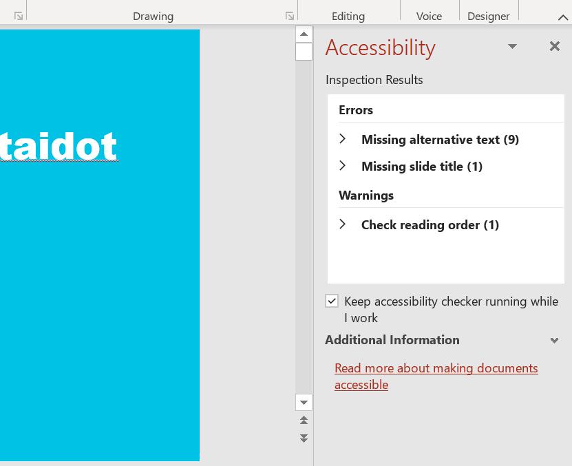 Ruutukaappaus PowerPoint -tiedoston saavutettavuustoiminnon käytöstä