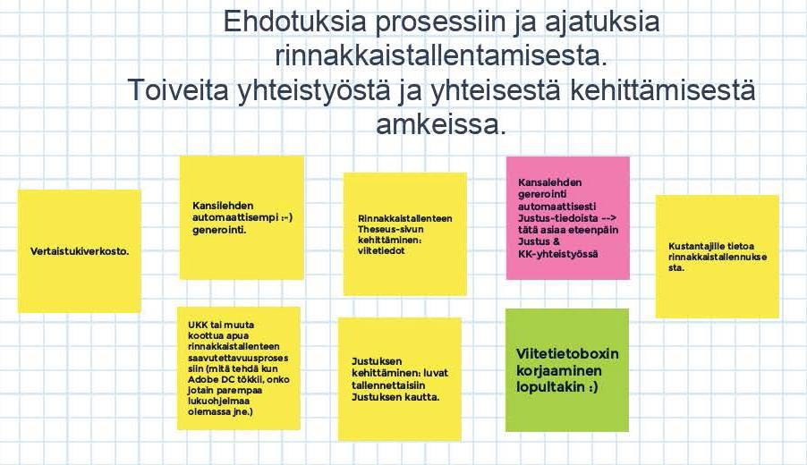 Kuvio 3. Rinnakkaistallentajien ehdotuksia toiminnan parantamiseksi.