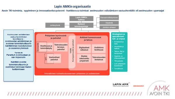 Kuvio 1. Avoimuuden edistämisen vastuuhenkilöt eli sparraajat Lapin AMKissa.