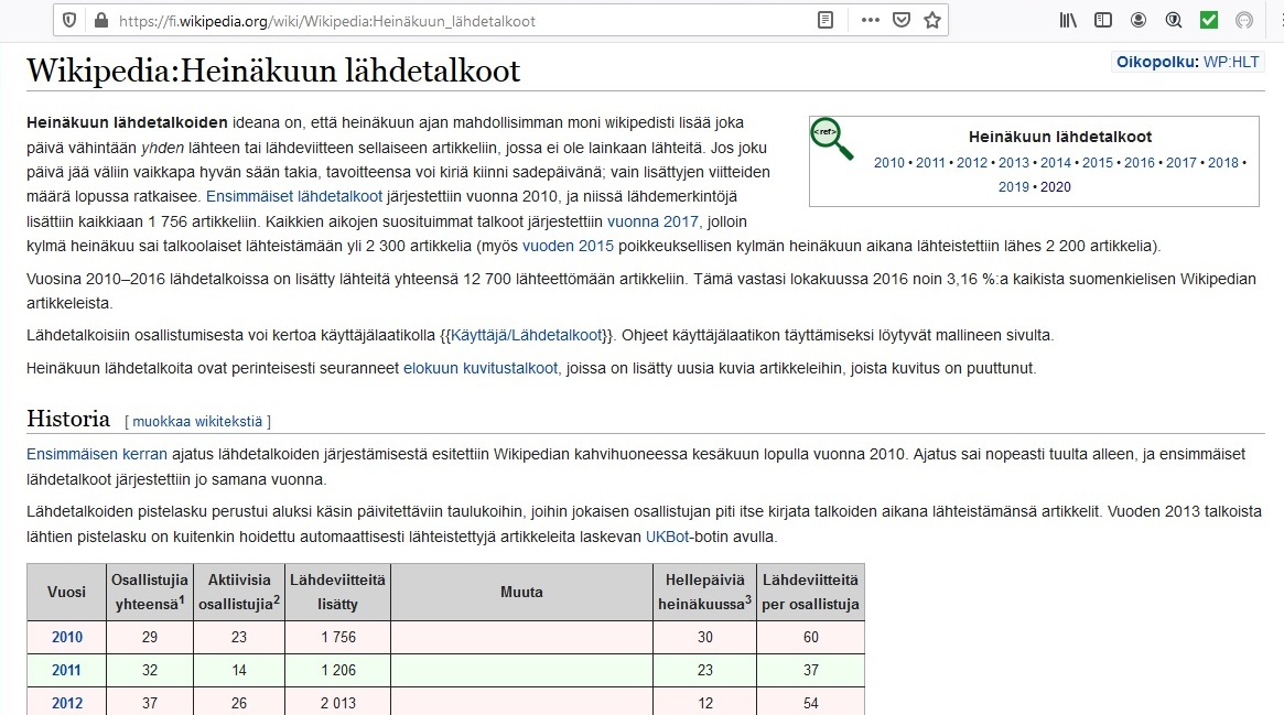 Lähdetalkoiden projektisivua Wikipediassa.