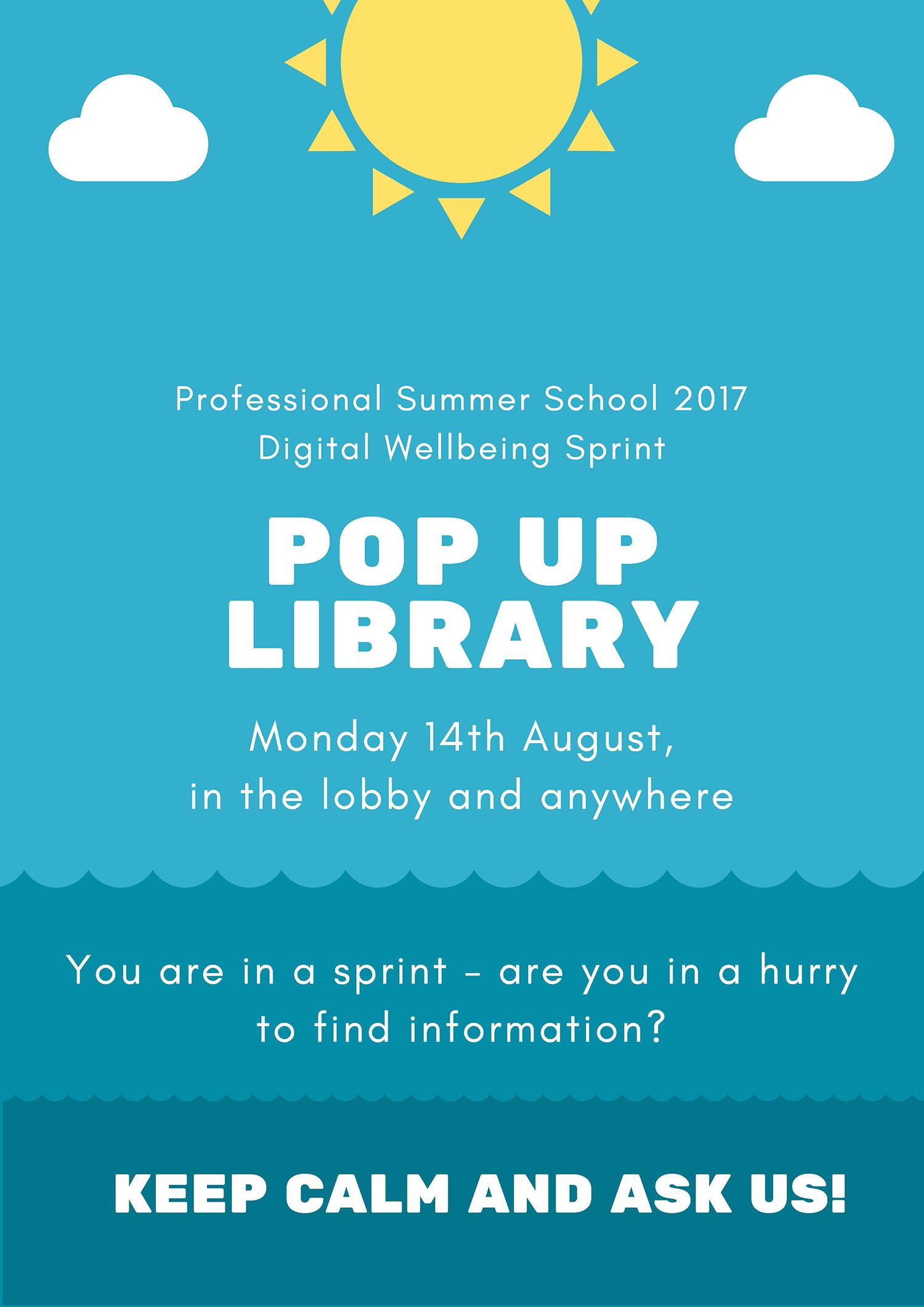 Jotain uutta auringon alla: Pop up -kirjasto Professional Summer Schoolin Sprintissä.