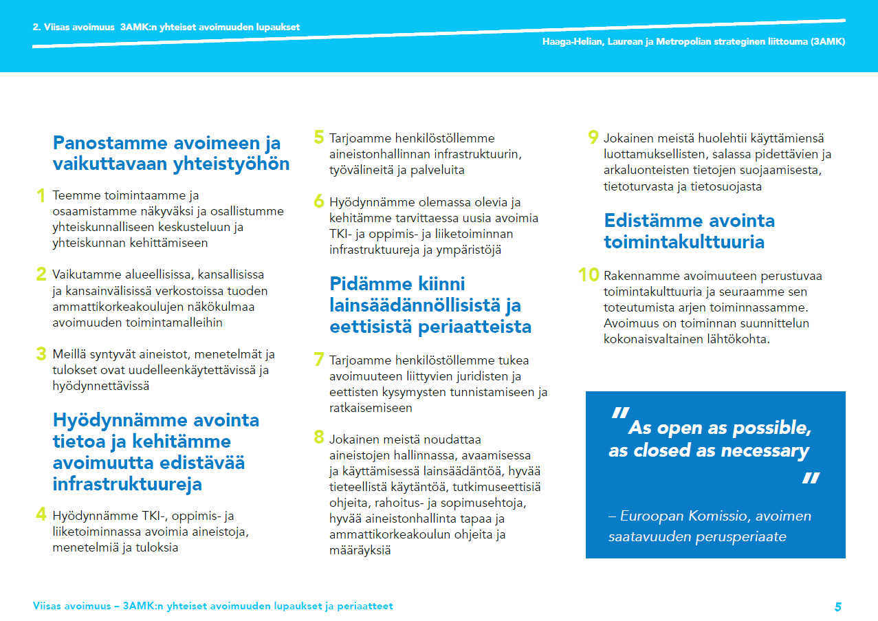 Kuva 1. Kymmenen avoimuuden lupausta ja niitä avaavat periaatteet