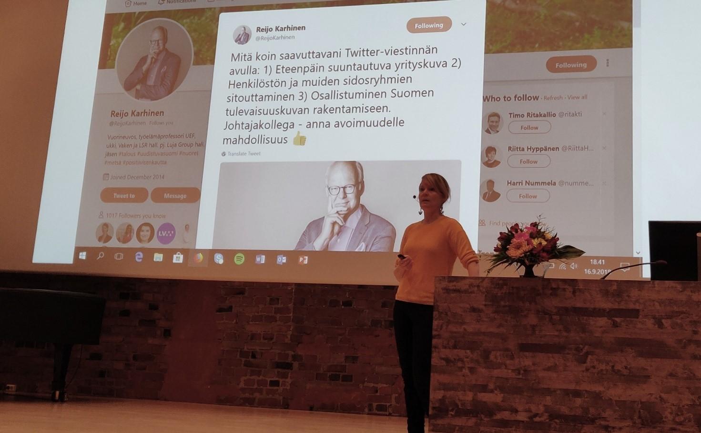 6.Mari K. Niemi korosti Twitterin merkitystä vaikuttamisen välineenä.