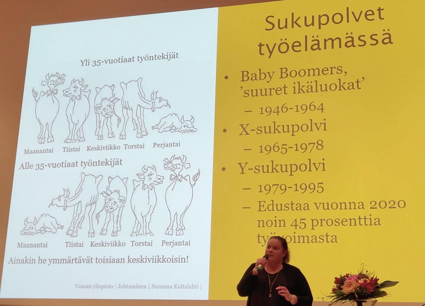 Susanna Kultalahti kertoi sukupolvien eroista työelämässä.