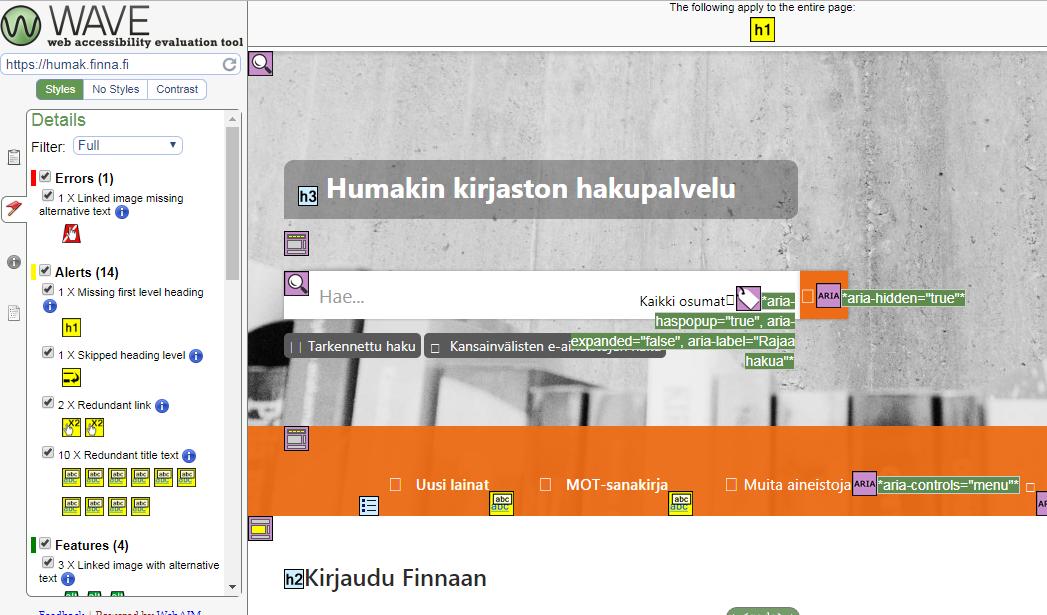 Kuva 2: Humak Finnan etusivu Wave Web Accessibility Tool -työkalulla tarkasteltuna.