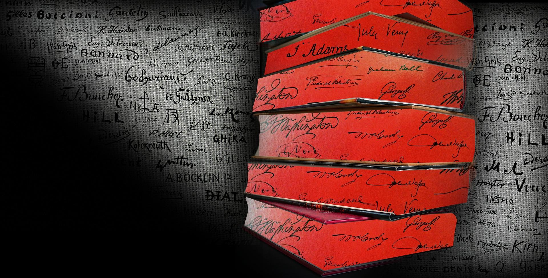 tyylitelty kirjapino, punaiset sivut