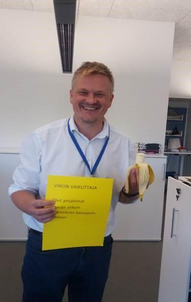 Kuva 3: Virkistävän banaanin saaja Markku lokakuussa 2016.