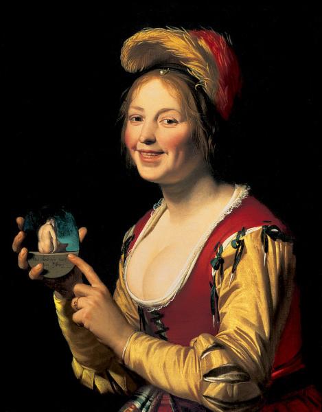 Gerard van Honthorst: Smiling Girl, a Courtesan, Holding an Obscene Image